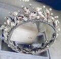 Полный Перл Ювелирные Изделия Корона Кристалл Свадебные Украшения Свадебные Украшения Короны Tiara Свадебные Аксессуары Acessorios Para Cabelo