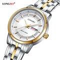 Marca longbo homens relógio calendário de negócios de moda relógio amantes de quartzo analógico relógios de pulso relógio do esporte das mulheres relogio masculino