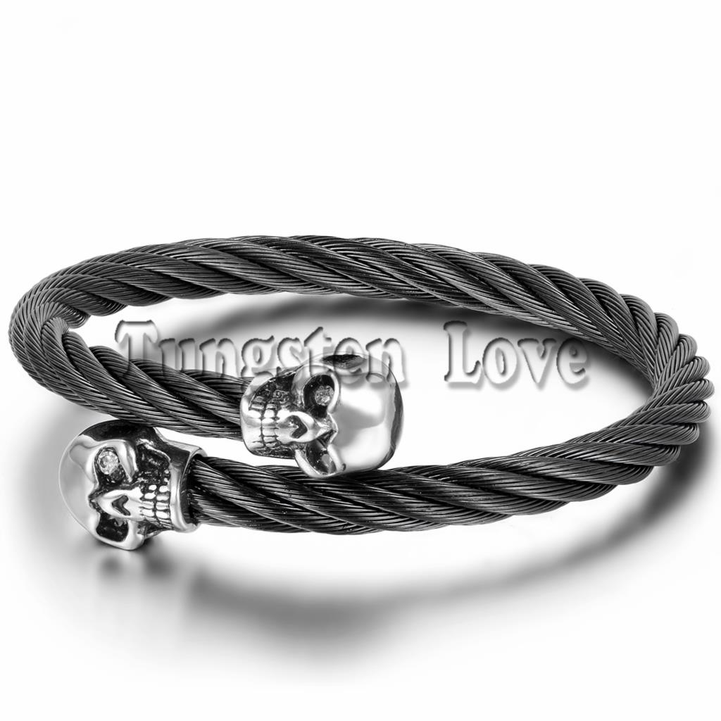 Fashion Cool Mens Skull Bangle Bracelet Stainless Steel Twisted Cable Cuff Black Elastic Adjule 9 8 Pulsera Hombre In Bangles From Jewelry