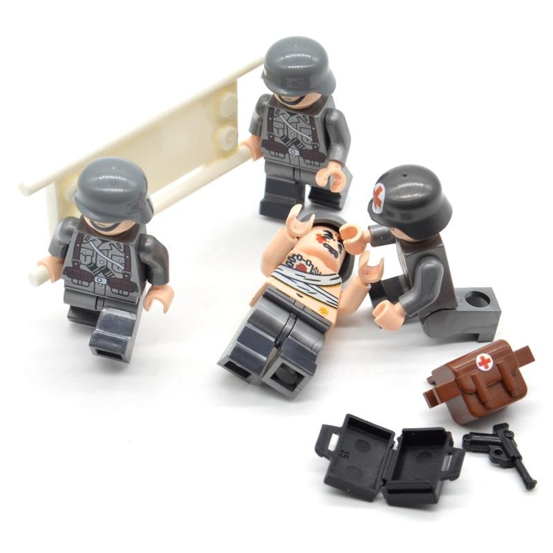 4pcs//set Brick WW2 Medic Team Military Soldiers Printing US Building Blocks Toys