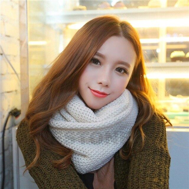 Мода 2016 женщины зима теплая одного круга вязание шарф вязать шарф шеи