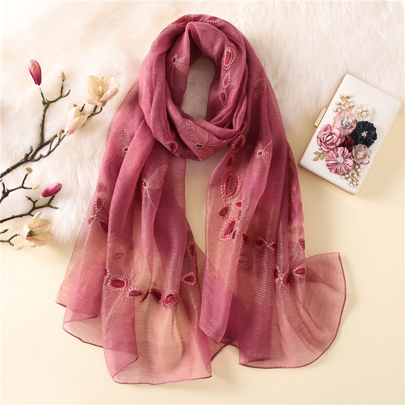 New silk wool scarf women 2018 Lovely Dragonfly Embroidery Shawl wrap large travel pashmina winter neck scarves hijab femme