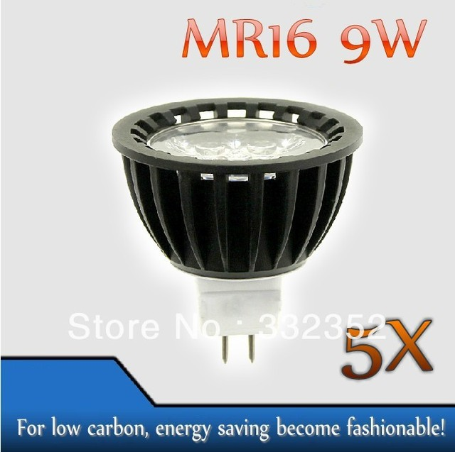 High power 5pcs/lot MR16  3leds Dimmable 3X3W 9W High Power LED Lights LED Bulb Lamp Led Spotlight