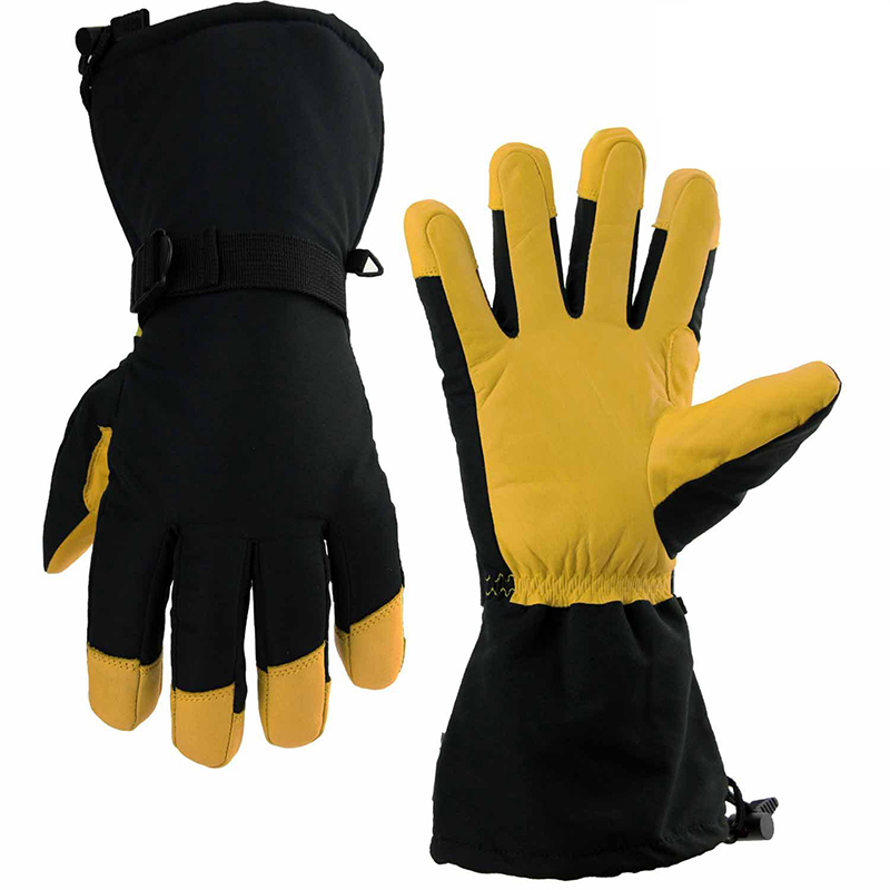 Working Gloves Winter Warm Ski Gloves Leather and Waterproof Fabric Thicken Lining Anti-cold Windproof Motorcycle Work Gloves 55pcs hand tool set kit household tool kit saw screwdriver hammer tape measure wrench plier