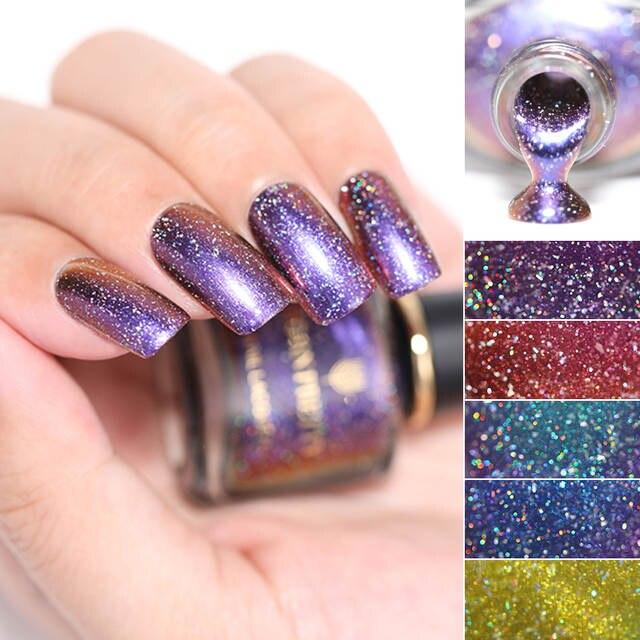 BORN PRETTY 6ml Chameleon Nail Polish Glitter Galaxy Nail Art Manicure  Chameleon Series 7 Colors