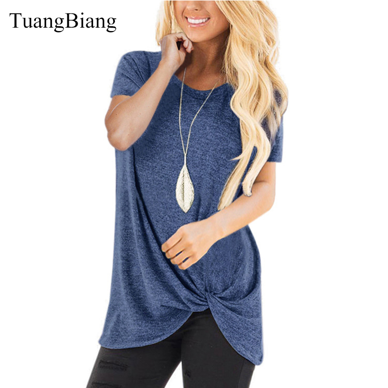2019 Spring Summer Round Neck Pleated T Shirts Woman Short Sleeve Knot Colored Cotton Tee Shirts Female Plus Size New Basic Tops