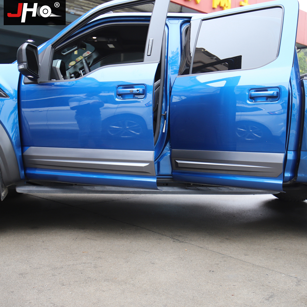 Image 3 - JHO Truck Door Anti scratch Panel Cover Trim For 4 Door Ford F150 2017 2019 Raptor 2018 Pickup Styling Protective AccessoriesStyling Mouldings   -