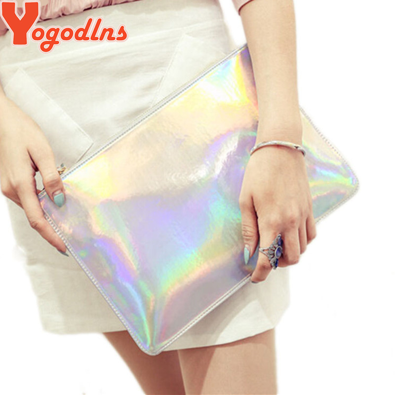 2017 Laser women bags Designer clutch bag Fashion women messenger bags ladies Envelope Clutches handbag