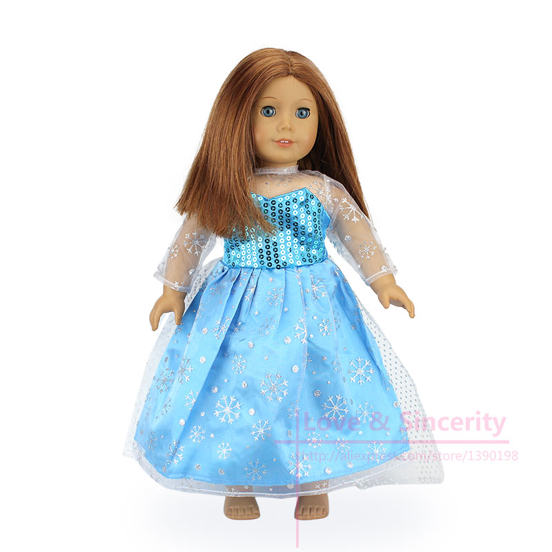 New Arrival Blue Dress Fit For American Girl Doll 18 Inch Doll Clothes And Accessories ...