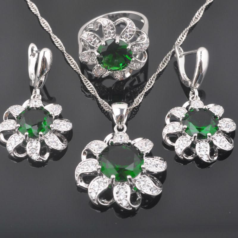 Fahoyo Wunderschöne Grüne Zirkon Frauen 925 Sterling Silber Schmuck Sets Ohrringe/anhänger/halskette/ringe Freies Verschiffen Qz0350 Hochzeits- & Verlobungs-schmuck