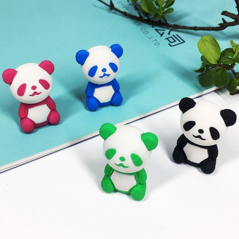 Eraser 1pc Animal Eraser Kawaii Panda Rubber Cartoon Style Eraser Creative For Kids Funny Erasers Stationery School Supplies