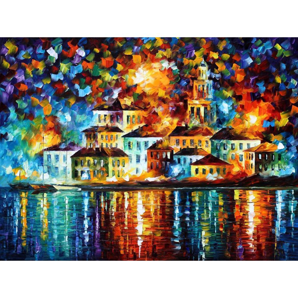 Pop art hand painted canvas oil knife paintings night harbor landscape modern decor for living room