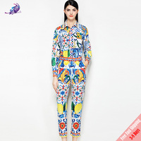 Fashion Runway Suit Set New 2018 Women's Spring Designer Sicily Floral Printed Blouses Tops and Long Pants Suit Free Express
