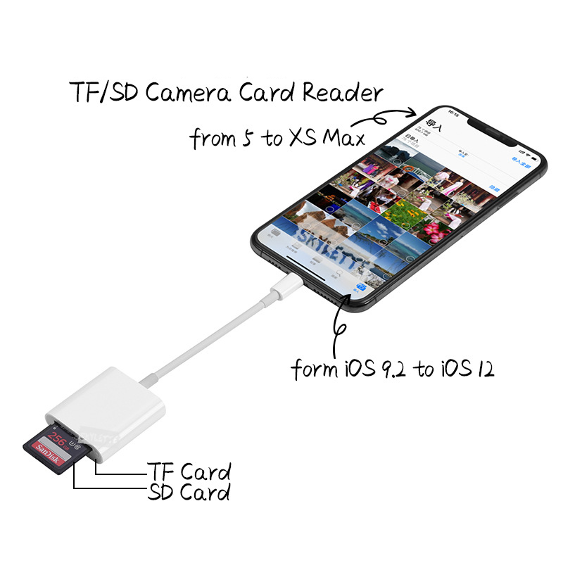 ipad iphone Camera SD TF Card Reader OTG Lightning SLR Kit No APP Need Data Connect Cable 2 in 1 Card Reader for iPhone iPad iOS9.2-12 (2)