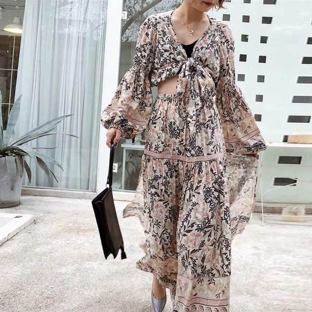 Floral Print 2 Piece Set Dress Tied V Neck 2019 Summer Dress Slit Sides Elastic Waist Boho Dress Chic Beach Dress For Women by Boho Inspired