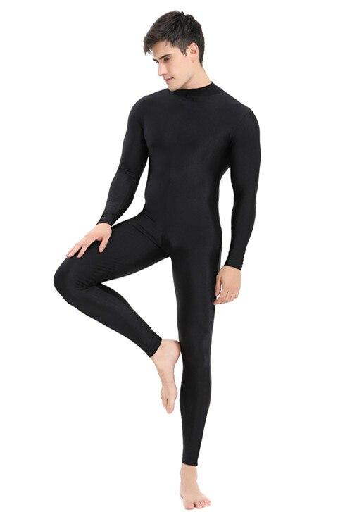 Speerise Mens Black Turtleneck Spandex Long Sleeve Unitard Unisex Full Length Ballet Bodysuit Footless Dancewear Costum
