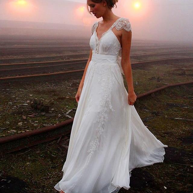 2016 vestidos de noiva 2015 bohemia de la playa vestido de novia de