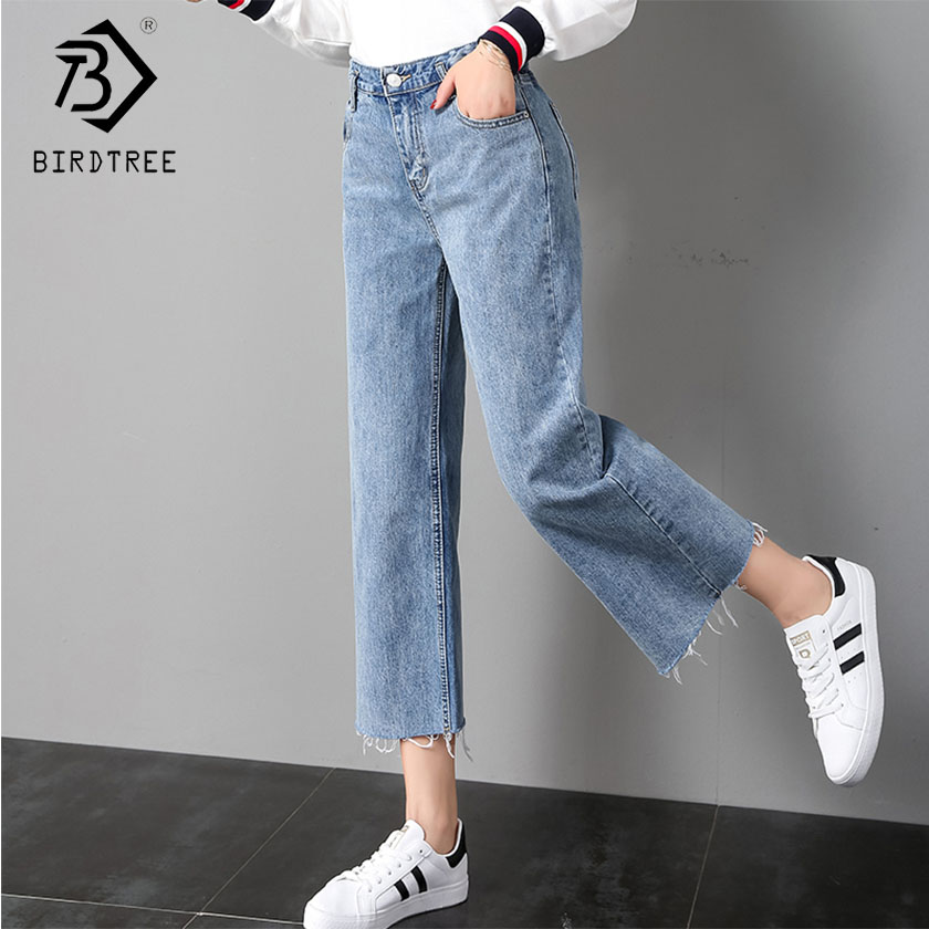 Women's Clothing Bottoms 2019 Womens High Waist Ripped Pockets Jeans Denim Pants Blue Button Ankle Length Wide Leg Holes Pants Spring Hot Sales B91202j