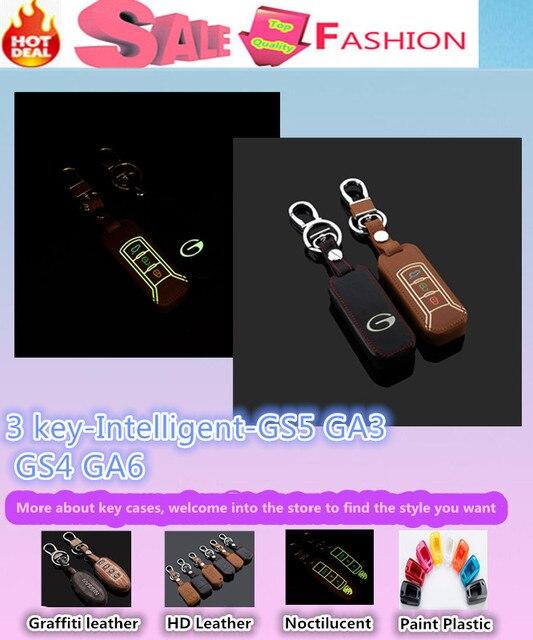 De calidad superior styling detector luminoso teclas de cuero casos bolsa llavero cadena inteligente carpeta / fold para Trumpchi GS5 GA3 GS4 GA6