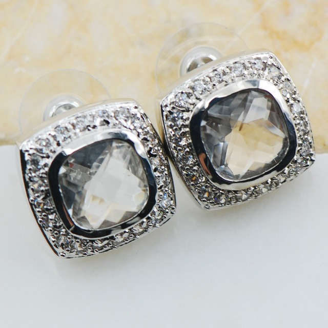 White Simulated Sapphire 925 Sterling Silver Earrings TE609