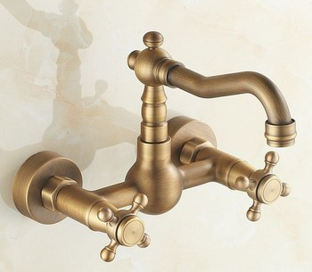 Antique Brass Wall Mounted Double Cross Handles Kitchen Sink Faucet Mixer Tap Swivel Spout atf002 stainless steel wall mounted kitchen faucet wall kitchen mixers kitchen sink tap 360 degree swivel flexible hose double holes