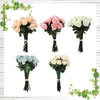 Wysokiej Jakości 15 sztuk Rose Sztuczne Kwiaty Jedwabne Kwiaty Floral Latex Prawdziwe Dotykowy Róża Bukiet Ślubny Home Decor Party Kwiaty