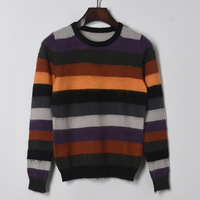 Autumn Iridescence Patchwork Cross Stripes Panelled Knitwear Jumper Round Neck All Matched Jersey Women Pullover Knitted