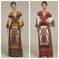 2016 túnicas de gran ropa hippie de boho chic ethnic mexican dress robe kimono dress casual con cuello en v de impresión maxi de la manga flare