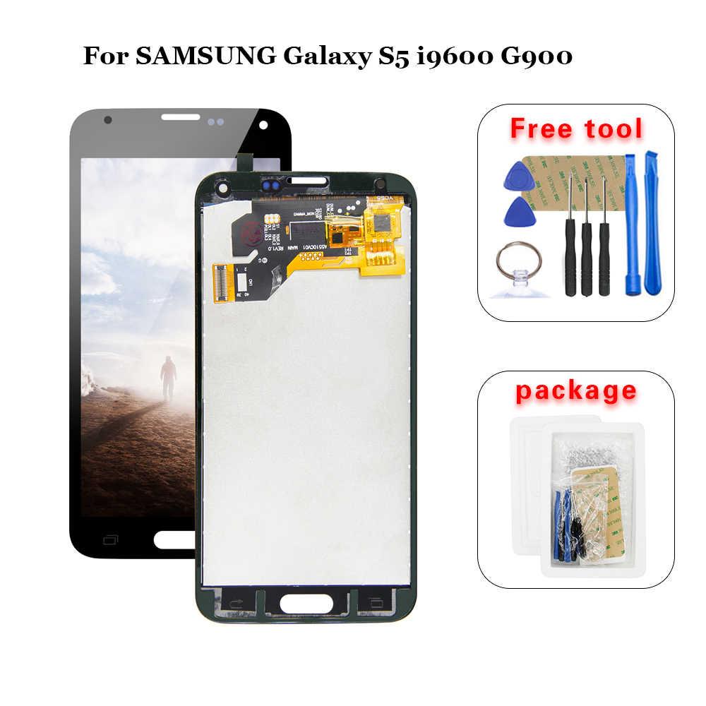 100% Diuji LCD untuk Samsung Galaxy S5 I9600 G900 G900F G900A LCD Digitizer Layar Sentuh Perakitan Panel + Alat Gratis