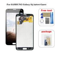 Cep telefonları ve Telekomünikasyon Ürünleri'ten Cep Telefonu LCD'leri'de AAA SAMSUNG Galaxy S5 i9600 G900 G900F G900A lcd ekran Sayısallaştırıcı Dokunmatik Panel Ekran Meclisi Ücretsiz Araçlar