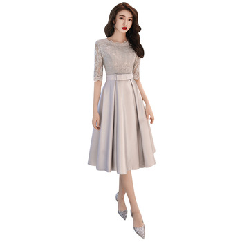 2019 New Spring Korean Style Evening Dress O-neck Half Sleeve Silver Slim Prom Party Dresses Sashes Bow Tea Length Haute Couture 2019 spring new women half sleeve loose flavour black dress long summer vestido korean fashion outfit o neck big sale costume