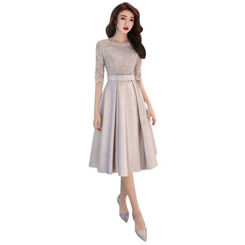 2019 New Spring Korean Style   Evening     Dress   O-neck Half Sleeve Silver Slim Prom Party   Dresses   Sashes Bow Tea Length Haute Couture