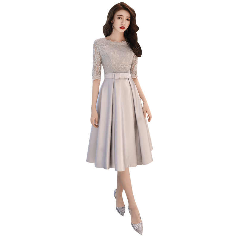 2019 Nuova Molla di Stile Coreano Abito Da Sera O-Collo Mezza Manica Argento Sottile di Promenade Del Partito Abiti Fiocchi e Fasce Dell'arco di Lunghezza del Tè Haute couture