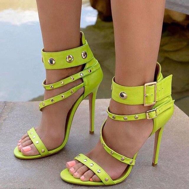 2dd7c43cda4 Fashion Wedding Party Dress Shoes Women Buckle Detail High Heel Sandals  Rivets Studded Gladiator Sandals Wholesale Drop Shipping