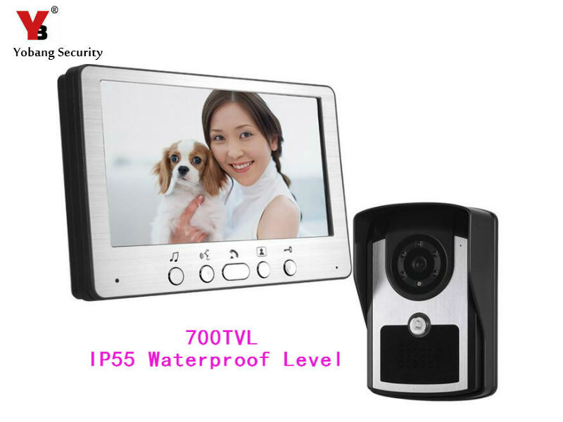 YobangSecurity 7  Video Door Entry Systems Video Door Chimes Bells Intercom Doorbell Phones 1 Monitor 1 Night Vision IR Camera ccd lens outdoor camera video door phones intercom systems door bells with 10 buttons for 10 apartments hd camera drop ship