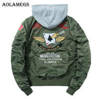 Aolamegs Jackets Men Poker Embroidery Badge MA1 Jacket Tracksuit Coats Hip Hop Stand Hat Detachable Male Windbreaker Streetwear