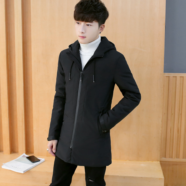 Korean Style  Mens Warm Long Parka Casual Winter Long Coat Loose Oversize Padded Jacket