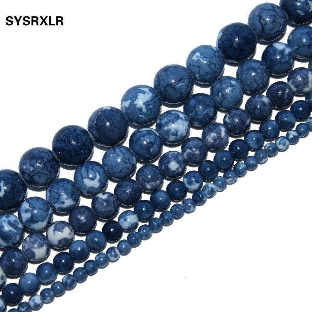 """Me shumicë guri natyror i thellë blu i thellë me shumicë për bërjen e bizhuterive me gjerdan DIY byzylyk 4/6/8/10 / 12MM 15.5 """"Dorëzim Falas"""