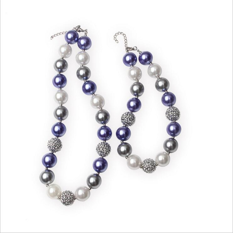 1sets/lot Kids Chunky Necklace Purple and White Pearls Children Bubblegum Beads Necklace for Mommy and Me Jewelry