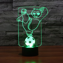 Color changing Flashing touch sensor control KungFu Panda Acrylic 3D LED Night Light Hollywood Football USB table Lamp