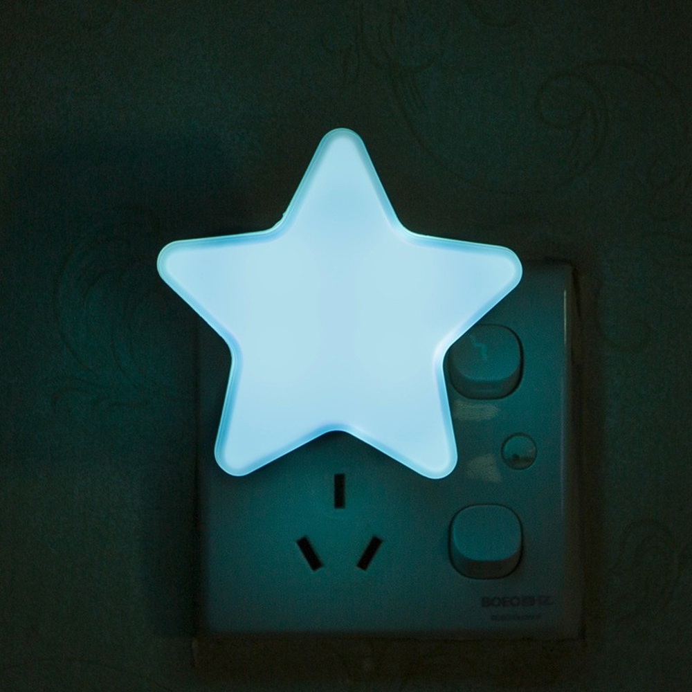 Mini Star LED Night Light AC110/220V Pulg in Wall Socket Bedside Lamp EU/US Light Sensor Control Novelty Children Night Lamp B