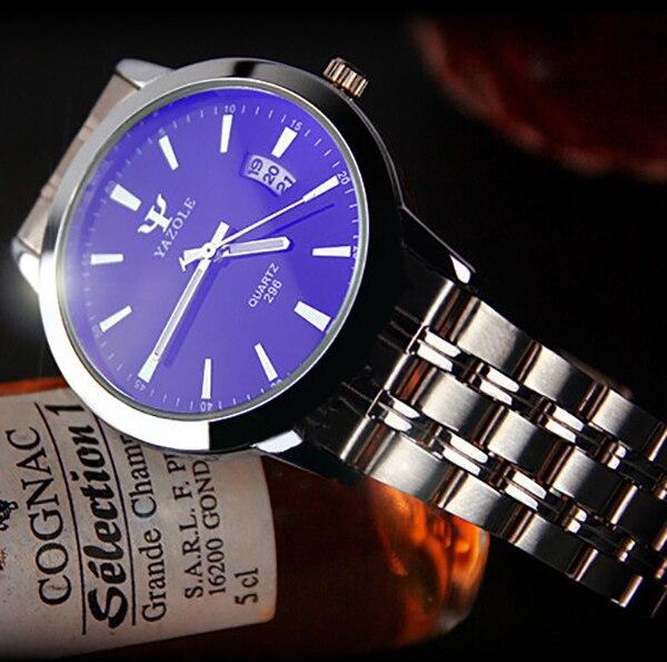 YAZOLE Luxury Brand Full Stainless Steel Analog Display Date Men's Quartz Watch Business Watch Men Watch Relogio masculino