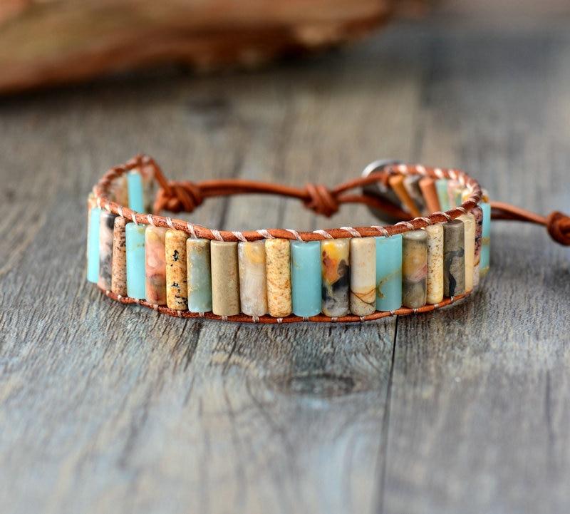 Top Quality Natural Jasper Single Leather Wrap Bracelet Unique Natural Stone Beaded Bangle Bracelet For Lovers bracelet