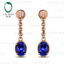 CaiMao 14KT/585 Rose Gold 2.03 ct Natural IF Blue Tanzanite AA  0.06ct Full Cut Diamond Engagement Gemstone Earrings Jewelry
