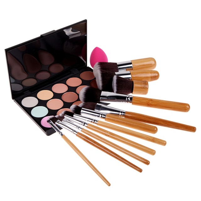 15 Colors Makeup Concealer Palette+11 Pcs Make Up Brushes+Cosmetic Puff Base Foundation Cream Nake Face Care Make Up Set
