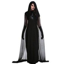 1 Bộ Nữ Halloween Phù Thủy Plus Kích Thước Dài Đầm Trang Phục Mùa Thu Đông Đen Áo (Có Mũ Và Găng Tay)