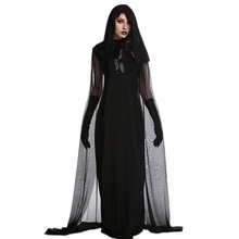 1 Set Female Halloween Witch Plus Size Long Dress Costume Autumn Winter Black Dresses(with Hat And gloves)