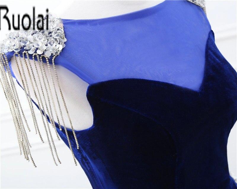 2017 Real Sample O-hals Kralen Crystal Tassel Velour Mermaid - Jurken voor bijzondere gelegenheden - Foto 5