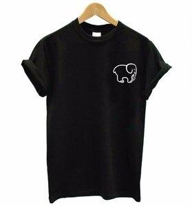 Женская футболка с принтом слона, хлопковая Повседневная футболка с забавным принтом в виде маленького слона, хипстер, Прямая поставка, F581