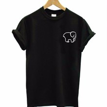 small elephant pocket Print Women tshirt Cotton Casual Funny t shirt For Lady To